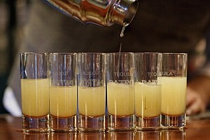 Making shots the old fashoined way, with liquid alcohol