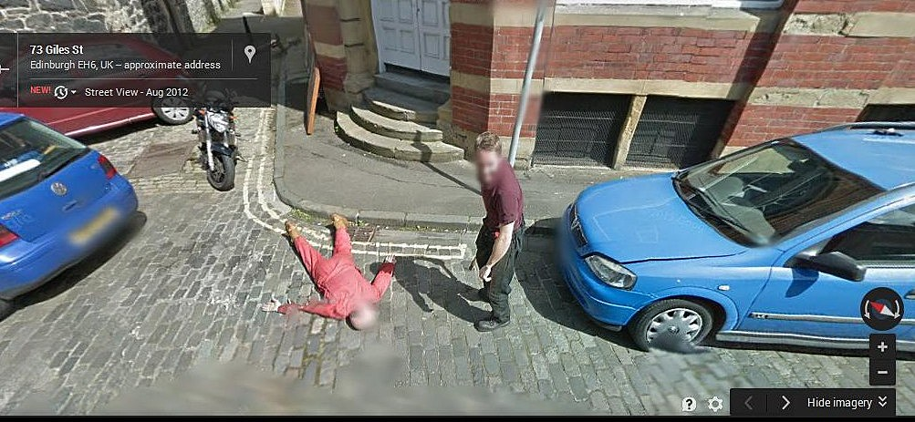 Fake Murder caught on Google Maps-Street View
