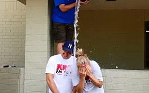 Dunken and Samm doing ice bucket challenge on Monday, August 18th